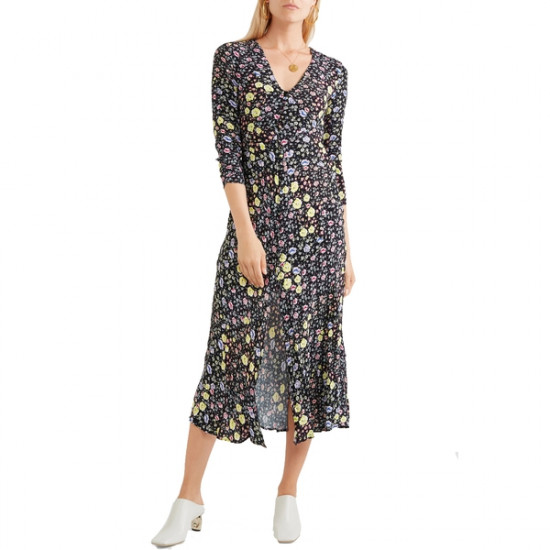 Rixo London Katie Mixed Micro Floral Printed Crepe Dress