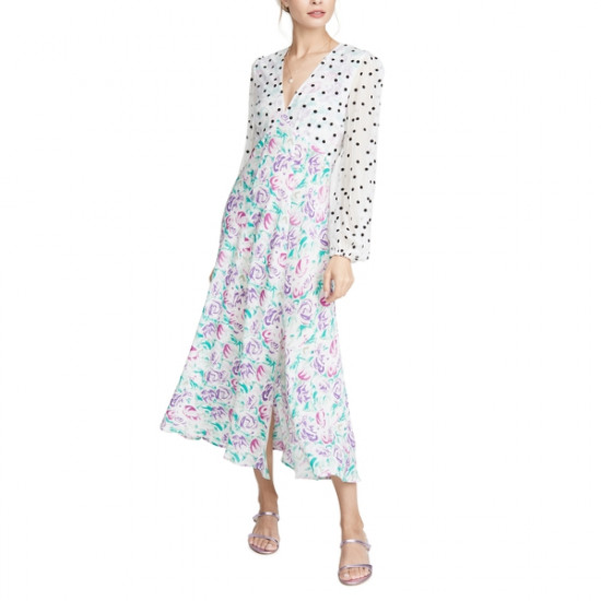 Rixo Melanie Polka Dot Italian Floral Long-Sleeve Midi Dress