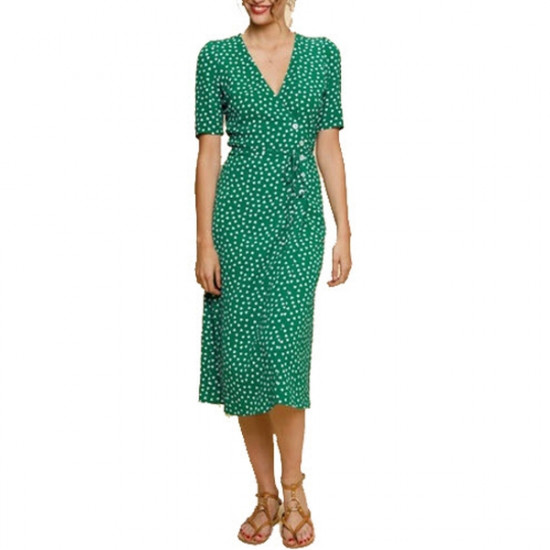 Rouje Gabin Printed Wrap Midi Dress