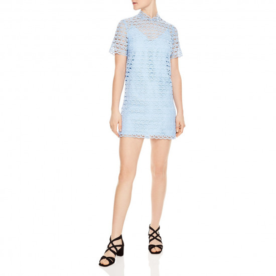 Sandro Air Short-Sleeve Neck Tie Lace Mini Dress