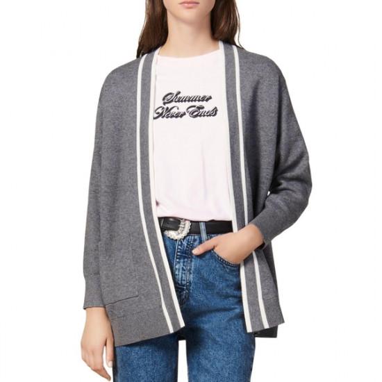 Sandro Alize Striped-Trim Cardigan Coat