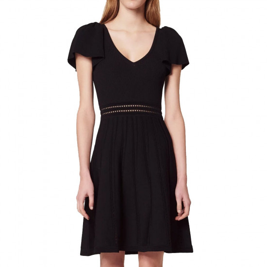 Sandro Edwin Flutter-Sleeve Short Knit Dress