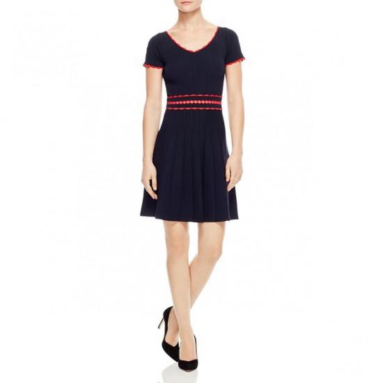 Sandro Enrick Contrast-Trim Pleated Knit Dress