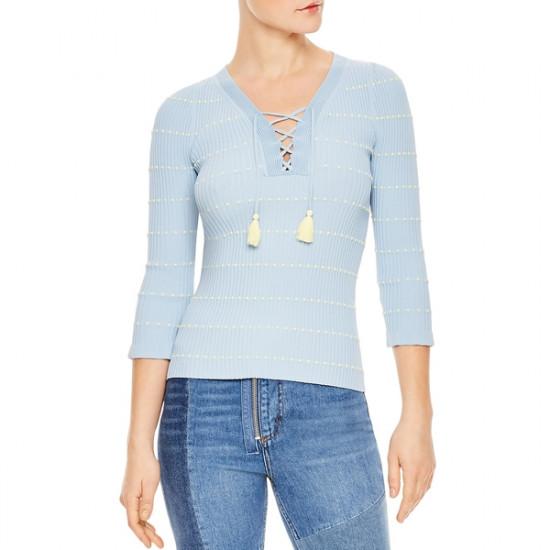 Sandro Gemilia Tasseled Lace-Up V-Neck Sweater