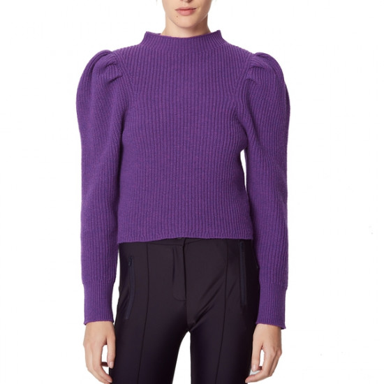 Sandro Hibou Ribbed Oversize-Shoulder Wool Sweater
