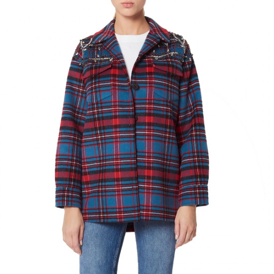 Sandro Mar Embellished Flannel Jacket
