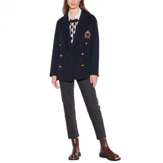 Sandro Navie Double-Faced Chest Patch Wool Blazer