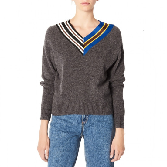 Sandro Nepeta Striped V-Neck Sweater