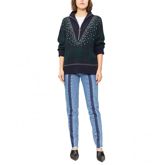 Sandro Patience Crystal-Embellished Half Zip Check Sweater