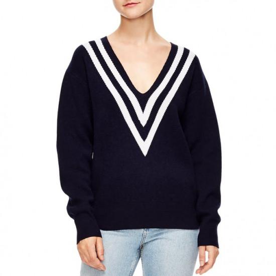 Sandro Platine Oversized Stripe V-Neck Sweater