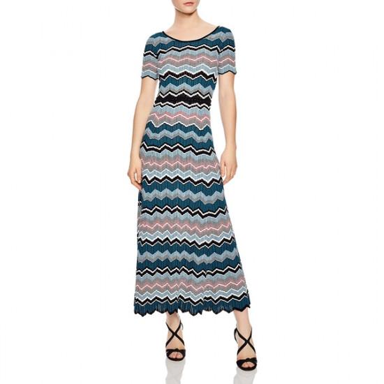 Sandro Rone Geo-Stripe Long Knit Dress