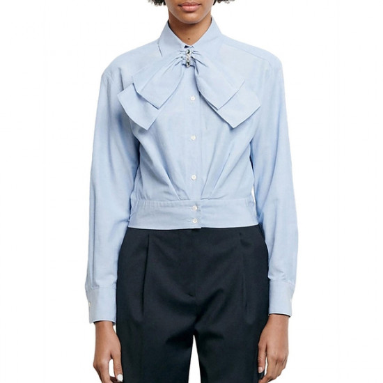 Sandro Saul Removable Bow Cropped Shirt