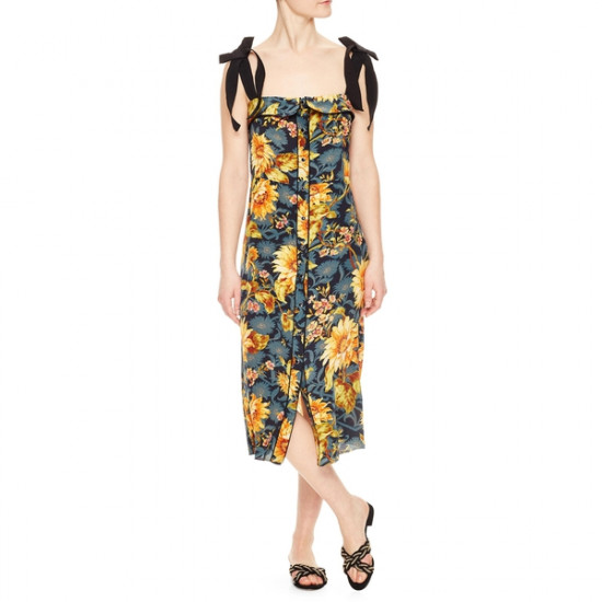 Sandro Sunset Silk Floral Print Dress