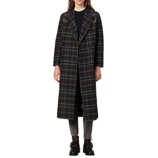 Sandro Tiles Stud Detail Plaid Wool Blend Coat