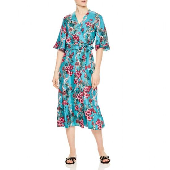 Sandro Tinca Floral-Print Silk Midi Wrap Dress