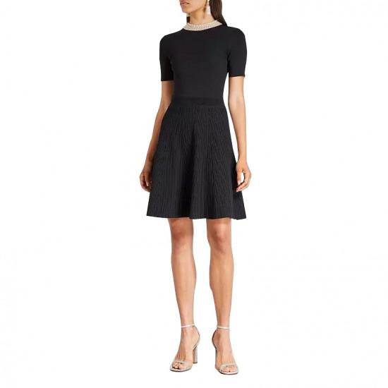 Sandro Uigi Jewelled Collar Short Knit Dress