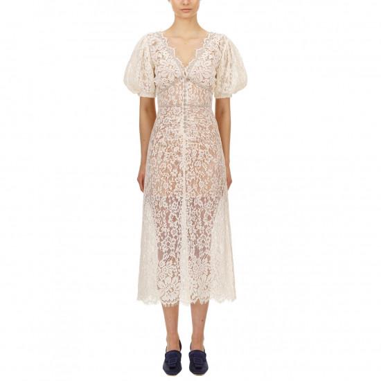 Self-Portrait Camellia Crystal-Embellished Corded Lace Midi Dress