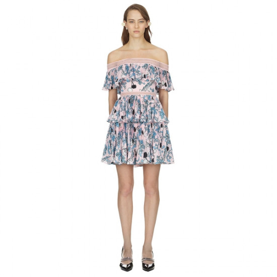 Self-Portrait Pleated Off-the-Shoulder Floral Mini Dress