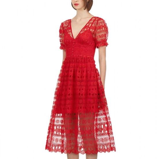 Self-Portrait V-Neck Short-Sleeve Lace Midi Dress