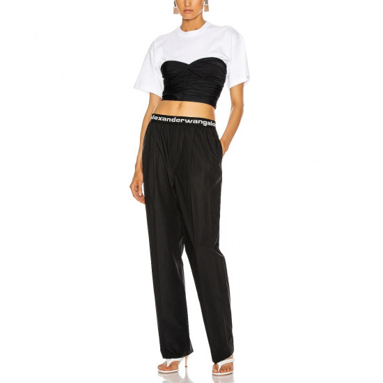T by Alexander Wang Pull-On Logo Pleated Pants