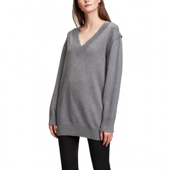 T by Alexander Wang Raw Edge V-Neck Long Sweater