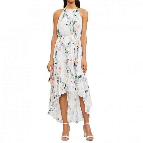 Ted Baker Valetia Dip Hem Floral Pleated Dress