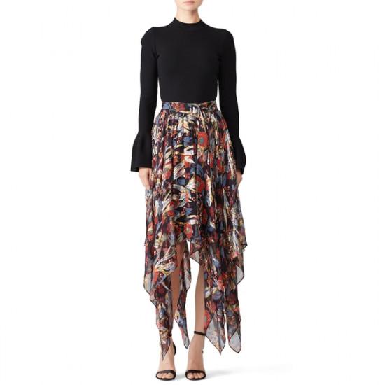 The Kooples Bollywood Floral Lurex Asymmetric Midi Skirt