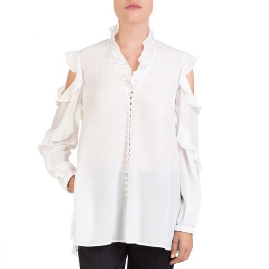 The Kooples Cold-Shoulder Ruffled Silk-Georgette Blouse