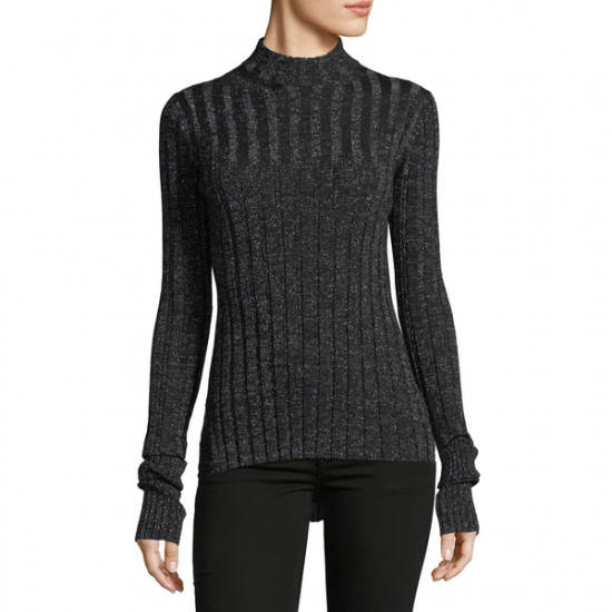 Theory Metallic Wide-Rib Fitted Mockneck Sweater