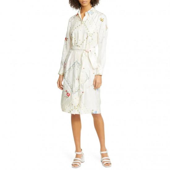 Tory Burch Afternoon Tea Floral Long-Sleeve Silk Shirtdress