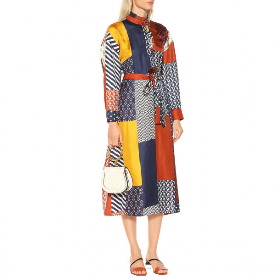 Tory Burch Bianca Patchwork Waist Tie Dress