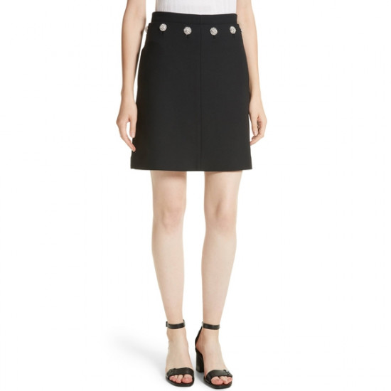 Tory Burch Fremont Jewel Button Mini Skirt