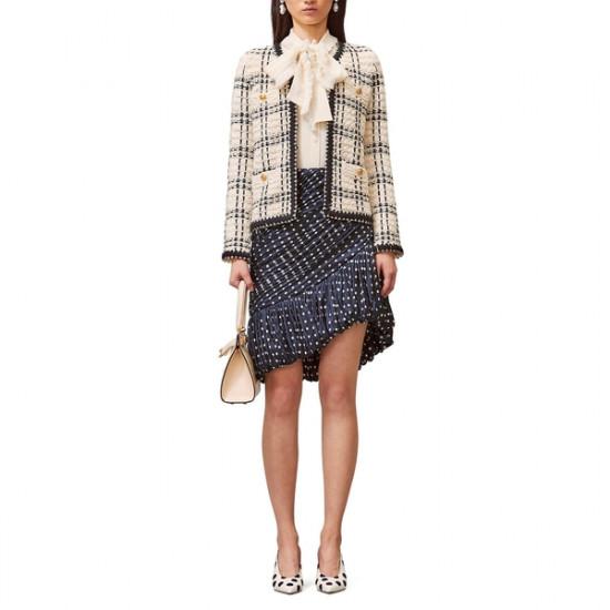 Tory Burch Kendra Chiffon-Trimmed Linen-Blend Tweed Jacket