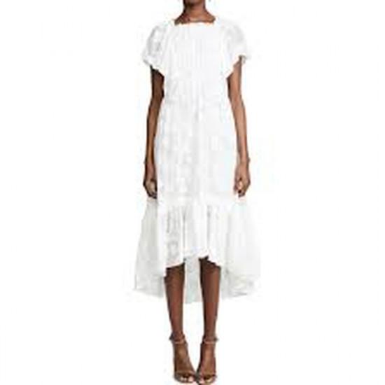 Ulla Johnson Mildred Floral Fil Coupé Ruffled Silk-Cotton Dress