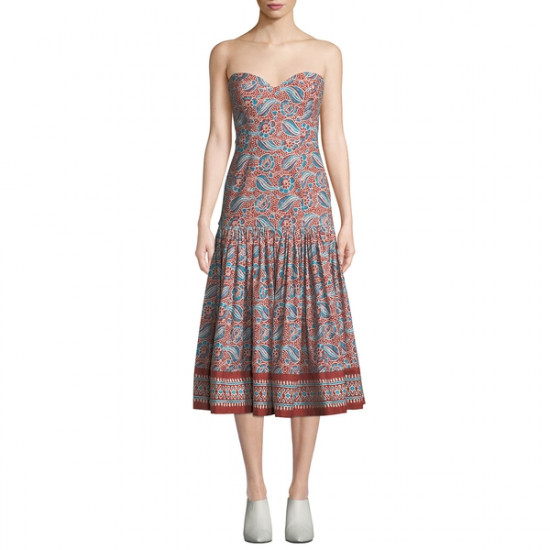 Veronica Beard Fiore Strapless Midi Dress