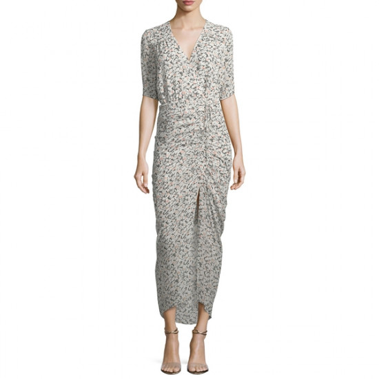 Veronica Beard Mariposa Wrap Silk Midi Dress