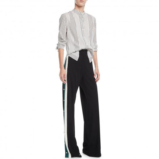 Veronica Beard Russo High-Waist Side-Snap Wide-Leg Pants