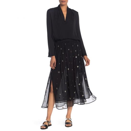 Vince Metallic Embroidered Silk Midi Skirt