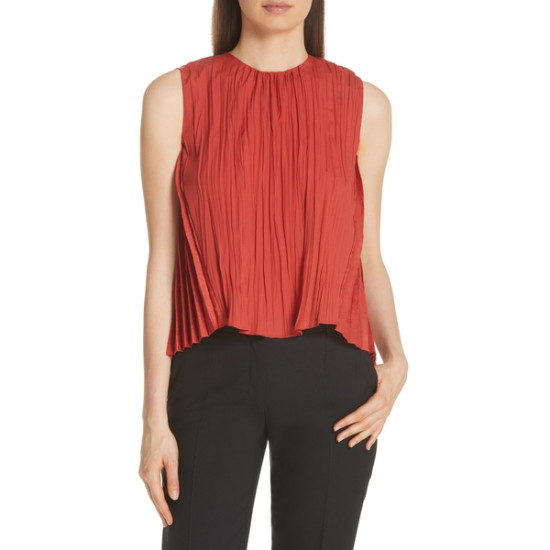 Vince Pleated Crinkled Shell Sleeveless Top