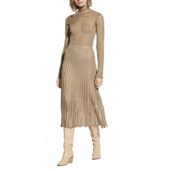 Vince Pleated Metallic Crochet-Knit Midi Skirt