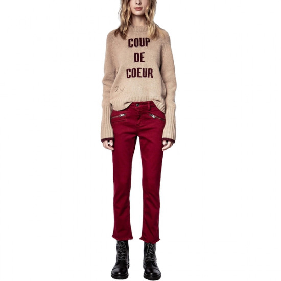 Zadig & Voltaire Maddy Intarsia Letters Merino Wool Crewneck Sweater