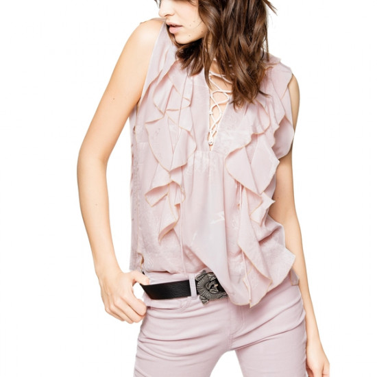 Zadig & Voltaire Time Lace-Up Ruffled Jac Top