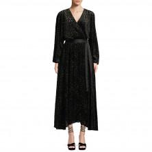 Diane von Furstenberg Metallic Animal Velvet Devore Wrap Dress