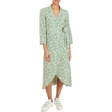 Ganni Floral Print Crepe Wrap Dress