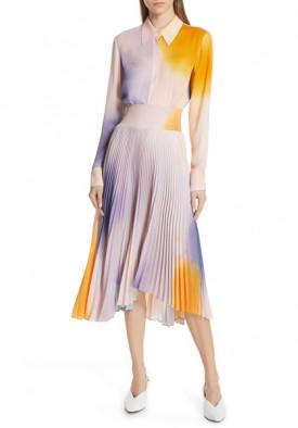 A.L.C. Sonali Smocked Tie-Dye Plissé Midi Skirt