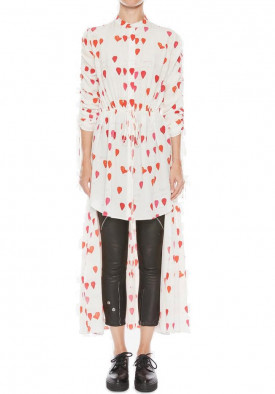 Alexander McQueen Petal Print High-Low Shirt