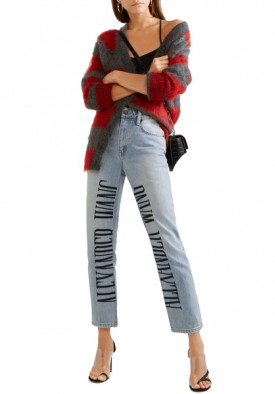 Alexander Wang Cult Embroidered High-Rise Straight-Leg Jeans