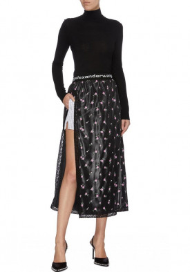 Alexander Wang High-Slit Floral Skirt with Boxers
