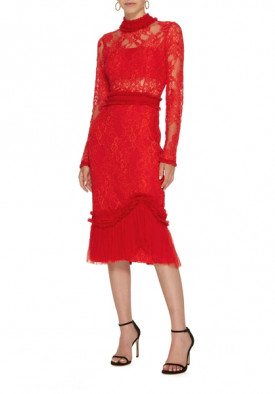Alexis Anabella Long Sleeve Lace Midi Dress