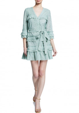Alexis Audrea V-Neck Ruffled Eyelet Cotton Mini Dress